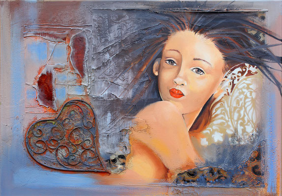 """Marina"" 50 x 70 sur chassis xl - Original 842€ - Reproduction : 421€ - Edition : 211€"