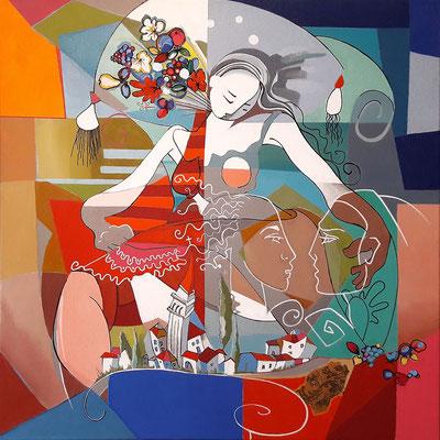 """""""Le rêve"""" - 80 x 80 cms - Huile sur toile - 2300€"""