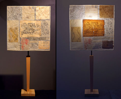 """""""Cl'Oche Corneville"""" pied bois et abat-jour papier - jeux de transparences -  Hauteur 73 cms - largeur 36 cms - 120€"""
