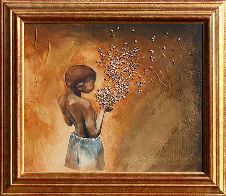 """""""Lettrisme"""" 38 x 46 - 600€ sans cadre - Original disponible - Possible en digigraphie ou reproduction sur toile"""