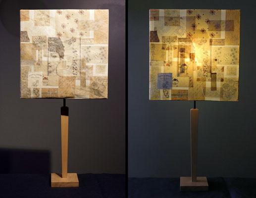 """""""Vintage"""" pied bois et abat-jour papier - jeux de transparences -  Hauteur 73 cms - largeur 36 cms - 120€"""