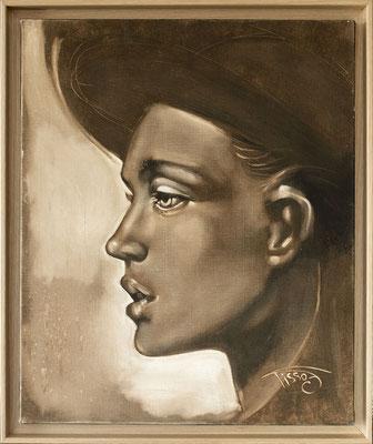 """""""Borsalino"""" 42 x 50 cm - Original 630€ - Avec encadrement : 708€ - Possible en digigraphie ou reproduction sur toile"""