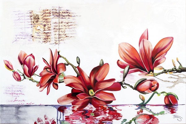 """""""Magnolias"""" 100 x 150 - Original 2450 - Reproduit sur toile 1225 - Edité sur toile 612"""