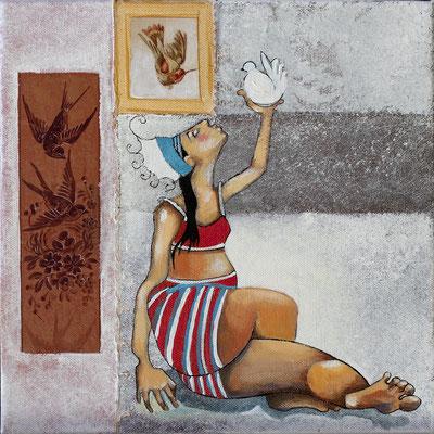 """""""L'oiseau"""" 30 x 30 cms - Acrylique -  huile - Marouflage sur toile. 360€"""