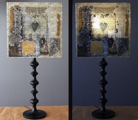"""L'Ove"""" - 140 € - Hauteur 81 cms - pied 17 cms - largeur 36 cms - bois noir et abat-jour création unique collages et peinture"""