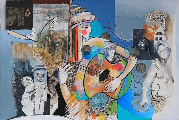"""""""Guitariste"""" - 80 X 120 - Huile et acrylique sur toile - 2200€"""