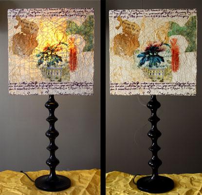 """""""O' Pivoine"""" - Hauteur 81 cms - pied 17 cms - largeur 36 cms - bois noir et abat-jour création unique collages et peinture -  140€"""