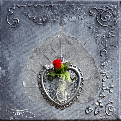 20 x 20 coeur de rose - 75€