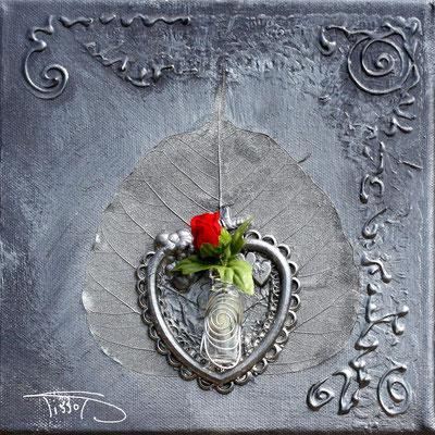 """coeur de rose"" - 20 x 20 - 75€"