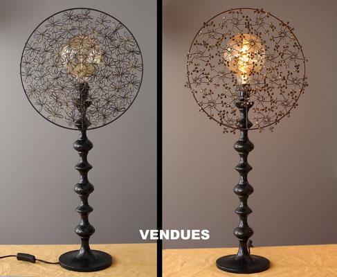 """""""ferrOnneries""""  120€ pièce - Hauteur 77 cms - pied 17 cms - largeur 35 cms - Pied laqué noir - Ampoule à filaments - VENDUES !"""