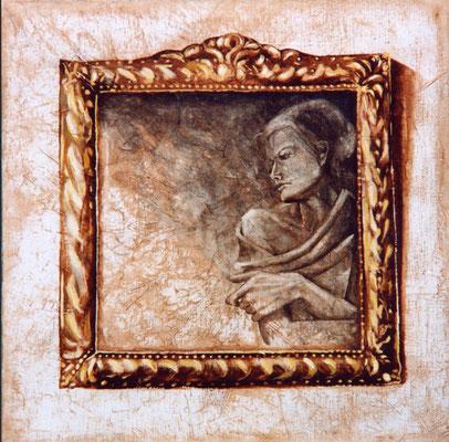 """""""Sédulie"""" 80 x 80 - Original disponible - 1450€ sans cadre - 1780€ avec très bel encadrement gravé or et argent"""