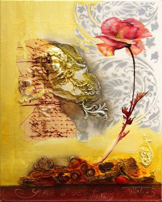 Lettre à un ange 40 x 50 - Vendu 400€ - Bas relief et peinture huile et acrylique - Disponible seulement en reproduction ou digigraphie®..