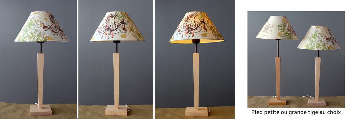 """""""lustre"""" pied bois tige courte ou haute au choix  -  Hauteur 56 ou 63,5 cms - largeur 30 cms - 140€"""