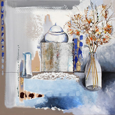 Nature morte bleue 80 x 80 - Original - 1450€