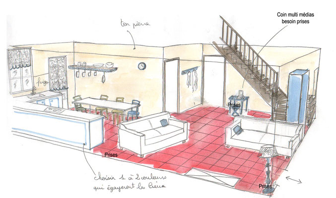 Croquis séjour campagne relooking