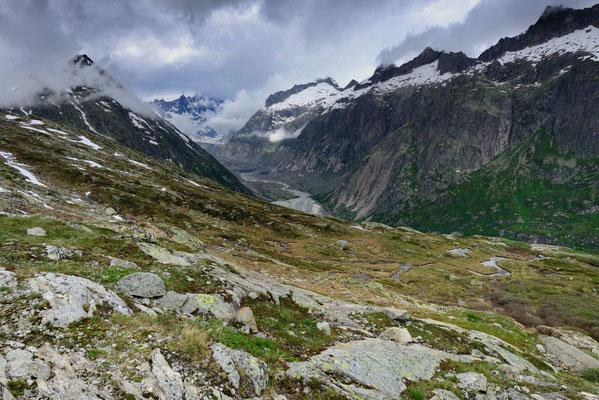 Blick Richtung (ehemals) Unteraargletscher, 2. Juli 2016