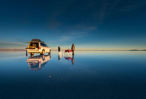 Den Abend geniessen am Ostifer de Salar Uyuni