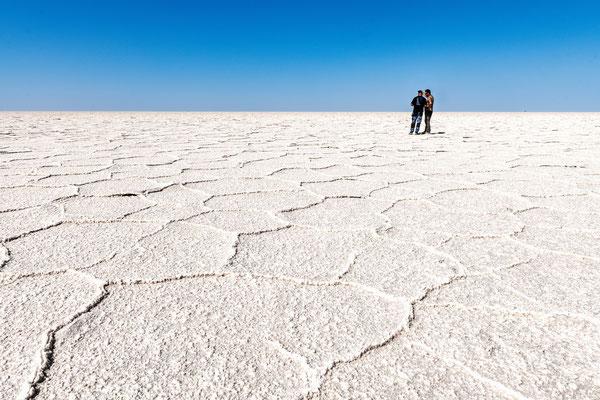 Namak Lake, ausgetrockneter Bereich des Salzsees bei der Wüste Kavir