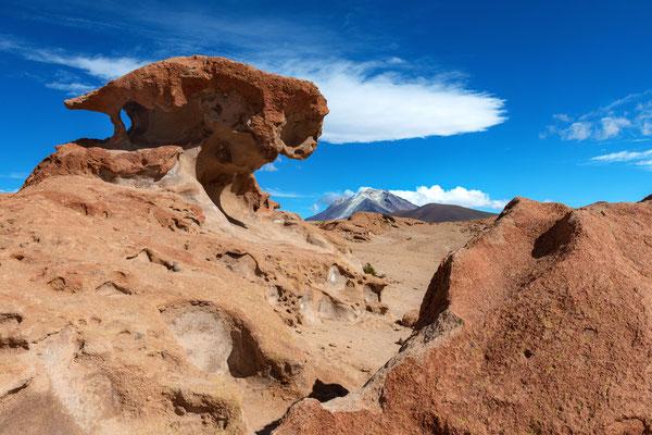 Am Aussichtspunkt zum Grenzvulkan Ollague (17 km) erneut eine Landschaft mit interessanten Felsformationen