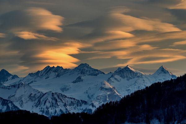 Berner Alpen ab Dietschibergstrasse, 8. März 2020