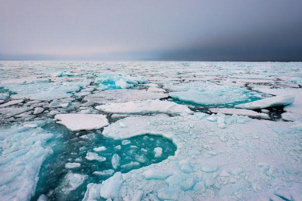 Manchmal gehen wir etwas tiefer hinein; entsprechend sind die Eisplatten dichter und kräftiger;