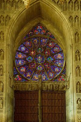 Kathedrale Notre-Dame von Reims; zentrale Rosette (origina)l um 1215/20; Maßwerk von Jean d'Orbais