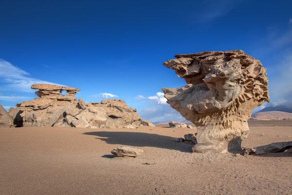 Nördlich der Laguna Colorada, kurz vor  Eintritt in die Siloli-Wüste, die Begegnung mit dem 'Arbol de Piedra'