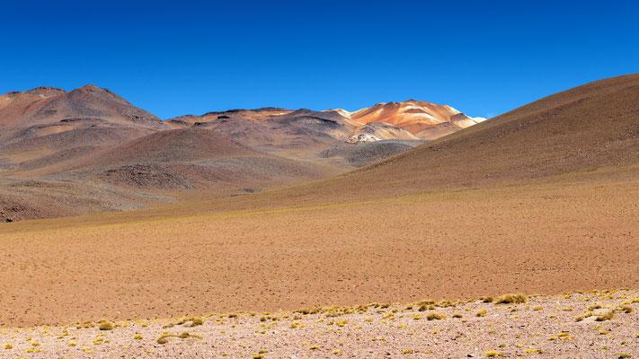 Farblich interessante Oxydationen in den Bergen zwischen den Termas des Polques und dem Geysirfeld Sol de Mañana