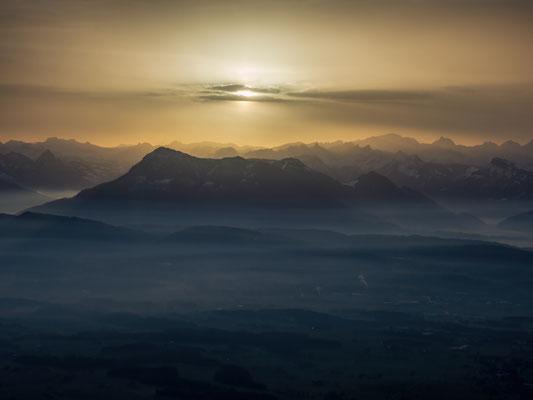 Von Luzern Richtung Rigi; Saharastaub; 6.2.2021