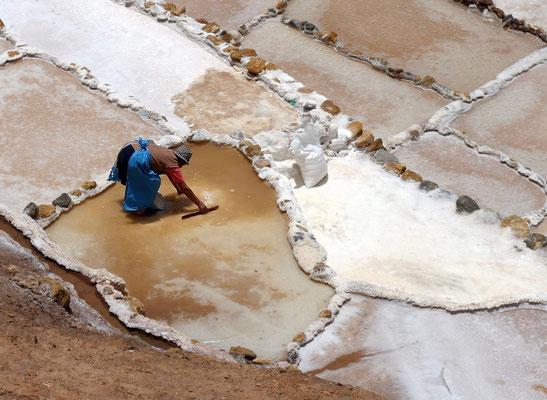 Salzgewinnende Frau bei den Salinas de Madras (Peru)