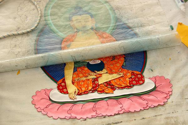 Mandala auf mehrschichtigem Tuch
