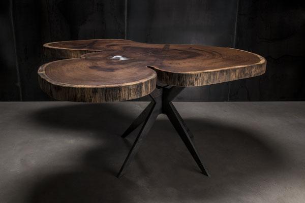 UnikatTisch, Tisch auf Maß, Baumtisch, Charaktertisch, Naturtisch, Naturkante, Baumkante, Waldkante, Monolitplatte, Holzplatte, Naturplatte, Baumscheibe, Baumscheibentisch, Unikatplatte, Stahlgestell, Designgestell, Tischgestell, auf Maß, Anfertigung