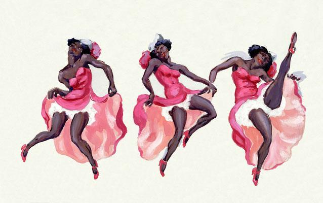 """""""Danseuses de music hall"""", 33 x 50 cm, 250€ encadré"""
