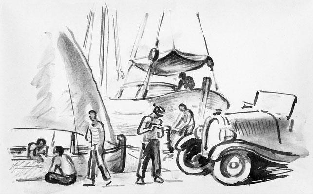 """""""Lautomobile sur le port, St Tropez"""", 21 x 32 cm, 150€"""
