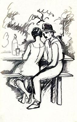 """""""Le couple au bar"""", 18 x 24 cm, 120€ encadré"""