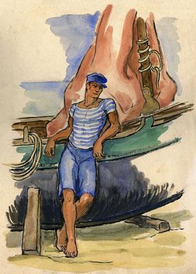 """""""Le marin accoudé"""", 29,5 x 41 cm,  250€ encadré"""