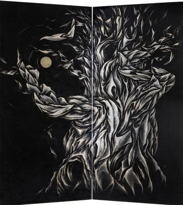 「大 樹」  第48回福島県総合美術展 県美術奨励賞  180×180cm 1994 個人蔵