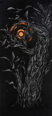 「 樹 」 第2回日工会展 初入選  176×82cm 1992