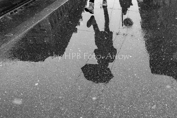 Waisenhausplatz Bern, Spiegelbild im Schneegestöber