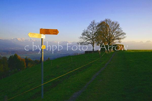 Tavel Denkmal, mit Blick Richtung Thun, Thunersee, Berner Alpen, Eiger, Mönch, Jungfrau