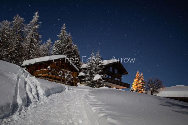 Bellwald im Wallis, bei Nacht