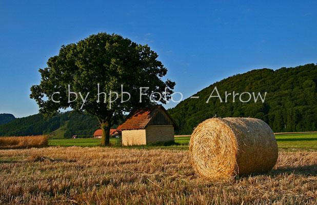 Herbst im Gürbetal, Strohrolle, Strohballe