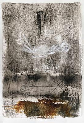 Fallz, Pigment, Wachs und Acryl auf Papier, 2016