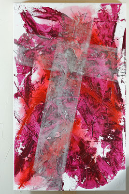 Kross, Mixed Media auf Leinwand, 60x100 cm, 2014