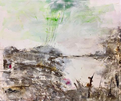 Der Magenta-Moment, Pigment und Acryl auf Leinwand, 120x100 cm, 2017