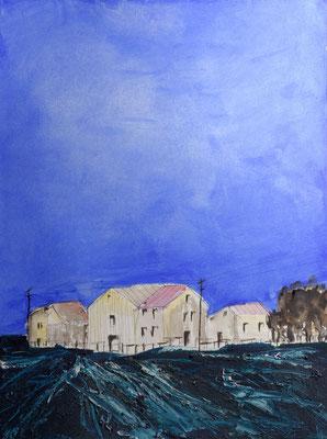 Gewitterstimmung, Acryl und Aquarell auf Papier, 56x76 cm, 2014
