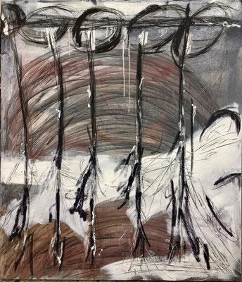 Die Verfolger, Pigment und Acryl auf Leinwand, 100x120 cm, 2017