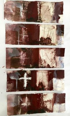 caput, Pigment, Wachs und Acryl auf Papier, 2016