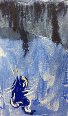 Fliesskrebs, Acryl und Pigment auf Leinwand, 60x100 cm, 2015