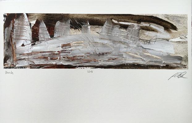 Unruh, Pigment und Acryl auf Papier, 58x76 cm, 2016